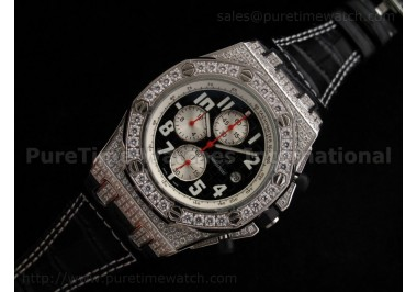 Royal Oak Offshore SS Black/White Full Diamonds Quartz