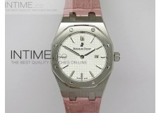 Lady Royal Oak 33mm SS White Textured on Pink Leather Strap RONDA Quartz