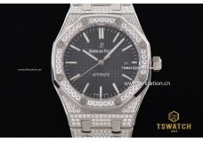 AP21513 - Royal Oak 41mm JHF Black Dial Full Diamond SS Bracelet A3120