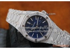 AUDEMARS PIGUET ROYAL OAK 15400 41MM SS-BLUE ALL DIAMONDS. LITE EDITION